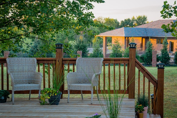 Patio near trees during the daytime