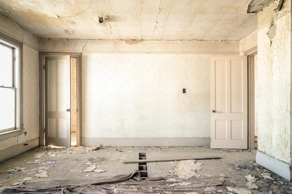 A gray abandoned room